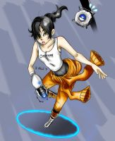 Portal 2 - Chell and Wheatley by kentaropjj