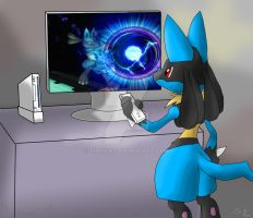 Lucario playing Wii by Siplick