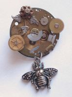 Steampunk Bee Brooch by clockwork-zero