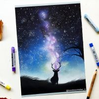 'Lonely stag' pastel drawing by Tinesdierportretten