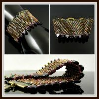 Bead loomed cuff - Dragon Skin by CatsWire