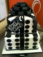 Two tiered Black and White Present Cake by Spudnuts