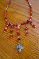 Red Maple Leaf Necklace by TernFeather