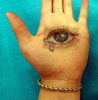 Eye on my Hand (Day 205) by Hedwigs-art