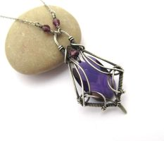lilac swarovski necklace by annie-jewelry