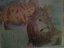 lion and graff by Trikone23