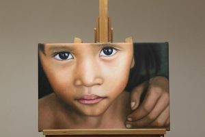 Cambodia Child Oil Painting by Oil-Gallery