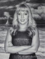 Cute American girl, commission portrait by Drawing-Portraits