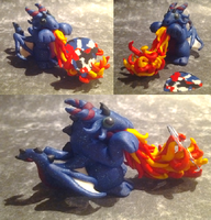 Flaming Blue Glitter Guitar Pick Dragon by Alexandrite-Dragons