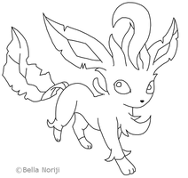 Leafeon Lineart - Free To Use by BellaNoriji