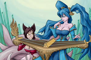 Ahri and  Sona print by JonFreeman