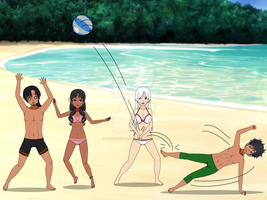 Volleyball at the Beach. by DeathNinja07