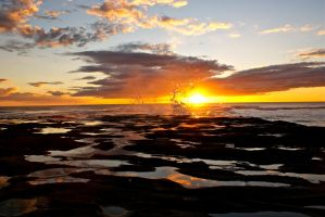 sunset muriwai by BenCrowlePhotography