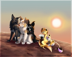 Sunset and friends by hecatehell