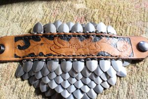 Scale and Leather Bracelet by VanLogan