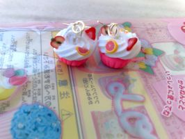 pink cupcakes silver earrings by PinkCakes