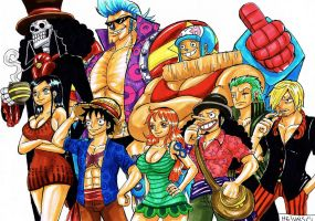 The Straw Hat Pirates by heivais