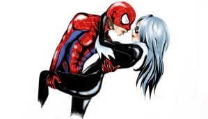 Commission : Felicia Hardy and Spiderman by LukaHainekoChan