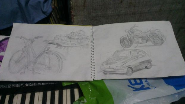 Still Life Practice - Four Random Vehicles by Extreme-Z7