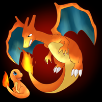 Charmander and Charizard by CleverConflict