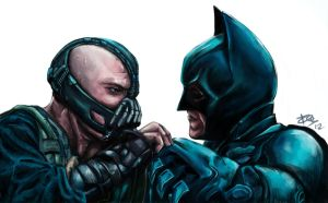 Bane and Batman by Esthiell