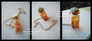 Bottle necklace with fruit by SilvieTepes