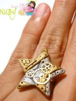 Twinkle Steampunk Star RING by colourful-blossom