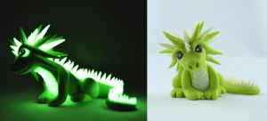 lemon green glow in dark dragon by claymeeples