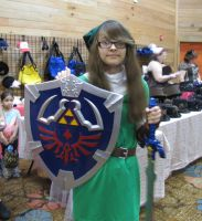 Link Holding the Master Sword and Shield by Hyrulekeyblade