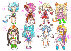 .::Adoptable Girly Points Batch 01::.[closed] by bearkind