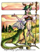 Dragontaur Female Watercolor by lady-cybercat