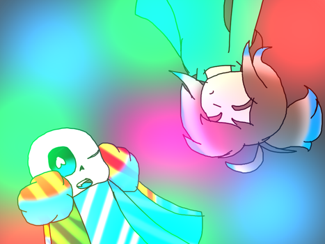 Frisk and Dinvie plus speedpaint by dinahthefluffyfoxx