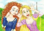 Merida and Rapunzel-greetings from Paris by Xijalle