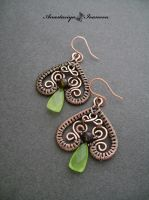 earrings with prehnite by nastya-iv83