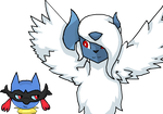 Mega Riolu And Mega Absol (Commission) by Icefeather31