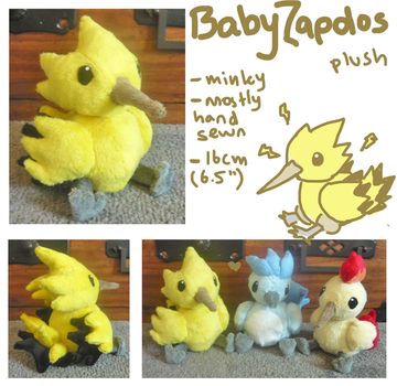 Baby Zapdos plush by scilk