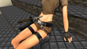 lara croft stabbed in navel #2 by mikendee