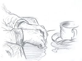 hands and coffee by AtariPunk633