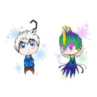 Chibi Fun: Jack Frost and Toothiana by Frostplay