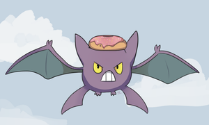 Tiny Crobat With Doughnut by HappyCrumble