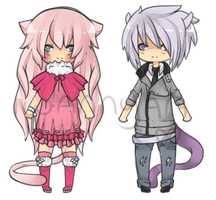 Mew + Mewtwo gijinka adopts [CLOSED] by WanNyan