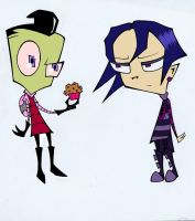 Zim and Tak -and a Muffin- by KanraKami