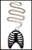 Black Acrylic Ribcage Necklace by cherryboop