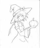 Cute witch line art by Syros