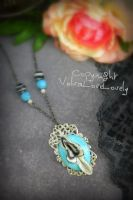 Blue Budgie- Feather Inspired Vulva Pendant by VulvaLoveLovely