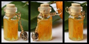 Orange Sun Bottle Pendant by GeneveveX
