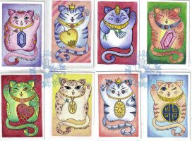 Lucky Cat Art Cards by Myrret