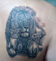 lion with cubs by primitive-art