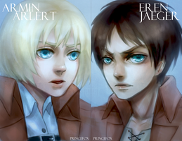 Eren + Armin Postcards by Londei
