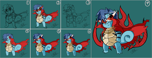 Kamina Squirtle - Process by TheFabulousFox